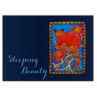 Sleeping Beauty Cat with Monogram and Pink Flowers Cutting Board