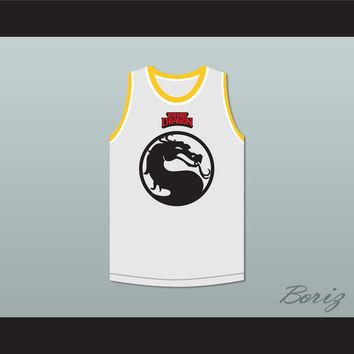 Bruce Leroy Green 85 Mortal Kombat The Last Dragon White with Red Graphics Jersey and Embroidered Patch