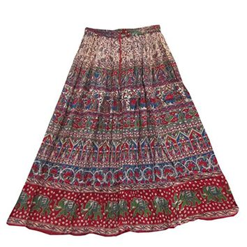 Mogul Womens Long Boho Ethnic Red Skirt Block Print Hippie Gypsy Crinkle Summer Skirt
