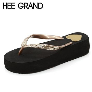 HEE GRAND Glitter Flip Flops Platform Slides Gold Silver Casual  Womens Summer Bling Slip On Shoes Flats XWT634