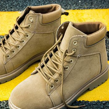 Men Lace-up Front Work Boots