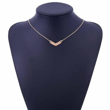 Gold Silver Small V letter Charm Wedding Women Necklace Women Tassel necklace