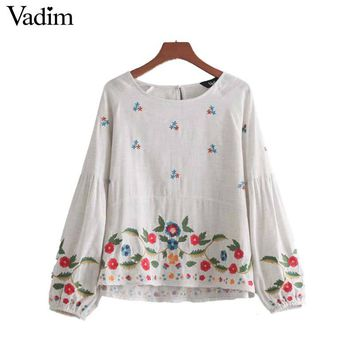 Vadim women vintage floral embroidery shirts long lantern sleeve o neck blouse chic ladies cute fashion casual top blusas LT2313