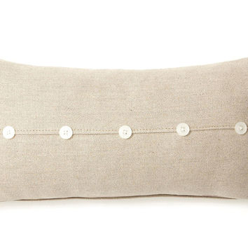 French Laundry Home, Button 10x20 Linen-Blend Pillow, Natural, Decorative Pillows