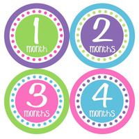 Baby Month Stickers Baby Girl Monthly Onesuit Stickers Pink Green Purple Monthly Onesuit Sticker Girl Baby Shower Gift Photo Prop -Anita