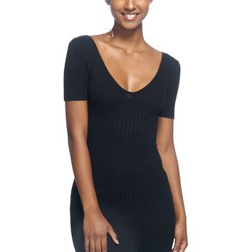 Heavy Rain Ribbed Plunge Mini Dress