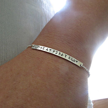 Runners Bracelet, Marathon Jewelry, Running Bracelet, Skinny Bar Bracelet, Running mom Bracelet, Love At First Run, Silver Bracelet