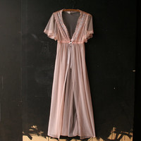 Vinttage Lingerie Nightgown Pink With Lace From Nowvintage on Etsy