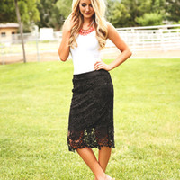 Laced with Beauty Pencil Skirt Black