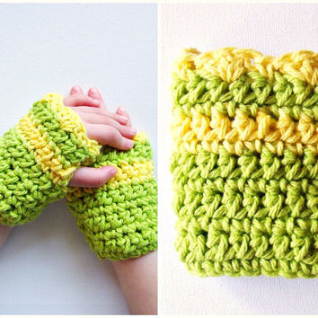 Crochet Children's Fingerless Gloves Cotton Citrus by KingSoleil