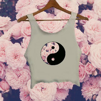 Yin Yang Pink Flowers Crop Top