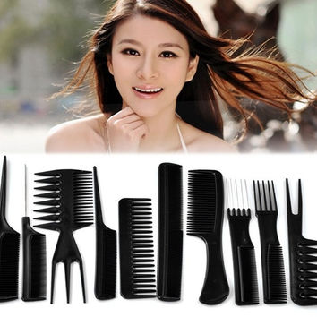 1Set (10PCs) Professional Combs Hairdressing Salon Barbers Set 15cm-23cm (Color: Black) = 1705619332