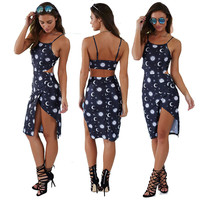 Black Moon and Sun Print Halter Slit Dress