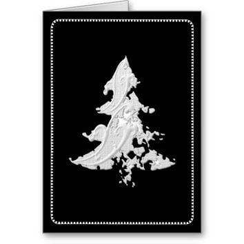 Abstract White Winter Tree Sculpture Art Card