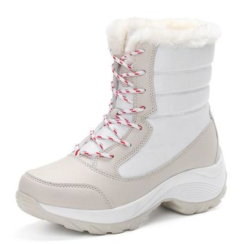 2016 women snow boots winter warm boots thick bottom platform waterproof ankle boots f