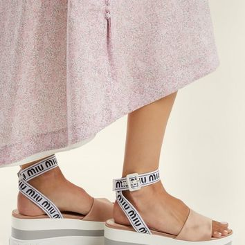 Logo-jacquard satin flatform sandals | Miu Miu | MATCHESFASHION.COM US