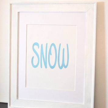 Snow Print with Sparkly Blue Lettering - Winter Home Decor - Blue Winter Decor - Snow Decoration - Snow Art - Blue Christmas Decor
