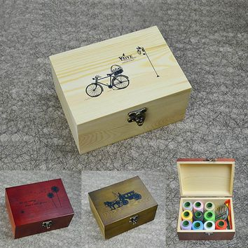 Wooden sewing box set household hand wood boxes household sewing kit manual sewing supplies kit Wedding Gifts Home Accessory