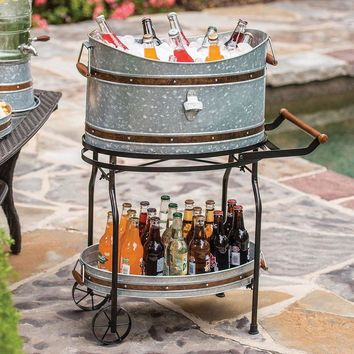 Beverage Tub and Serving Tray with Stand/Rolling Cart Galvanized Party Bucket