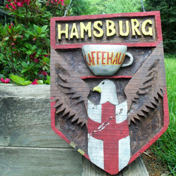 Wall Decor Large Wooden Coffeehouse Sign Hamsburg Kaffehaus Handcarved German Rustic Folk