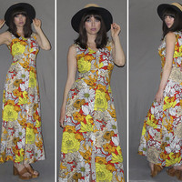 Vintage 70s PSYCHEDELIC MAXI DRESS / Vibrant Hot Yellow, Orange, Red Floral Print / Sleeveless, Slit Front / Groovy, Acid Trip, Festival / M