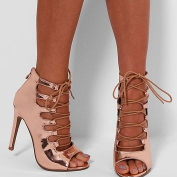 Kimberley Rose Gold Metallic Lace Up Heels | Pink Boutique