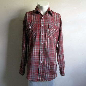 Vintage 80s Levi's Plaid Mens Shirt Red Green White Plaid Rockabilly Style Shirt Cotton Country Western Top Medium
