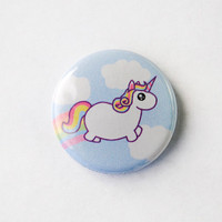 Rainbow Chubby Unicorn Pinback Button