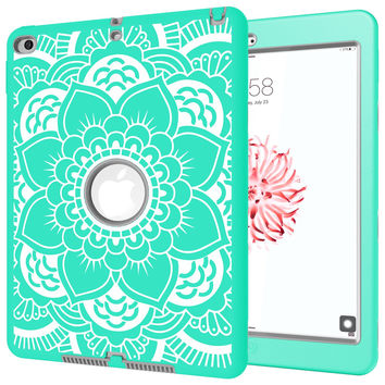 iPad Air 2 CasePIXIU [Shockproof][Drop Protection][Heavy Duty] Rugged Three-Layer Defender best cases for iPad air 2 Flower(Mint Green/Grey) Mint Green/Grey