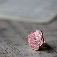 now i'm gold pink rose ring