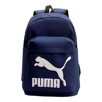 PUMA New fashion white print couple canvas backpack bag Navy blue