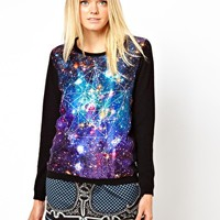 The Textile Rebels Wool Cashmere Jumper with Galaxy Print Silk Mix Panel at asos.com