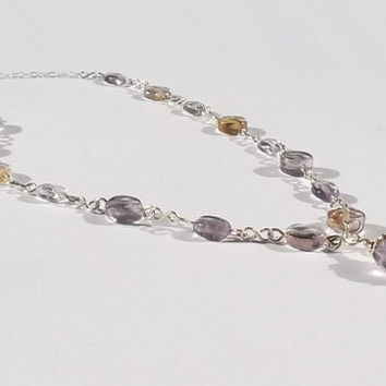 Ametrine & Sterling Silver Necklace, Ametrine Wirework Necklace