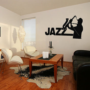 kik211 Wall Decal Sticker jazz singer saxophone saxophonist music hall bedroom jazz club