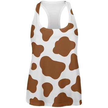 DCCKJY1 Halloween Costume Brown Spot Cow All Over Womens Work Out Tank Top