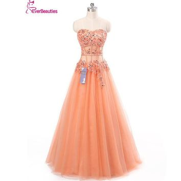 Long Prom Dress 2017 Coral Appliques See Through Corset New Arrival Formal Dresses Party Gowns Vestido De Festa
