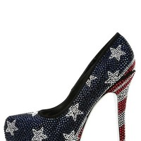LILIANA Aisha-1 High Heel Shoes Rhinestone Pumps American Flag Red White Blue