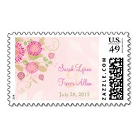 Custom Modern Floral Wedding Postage