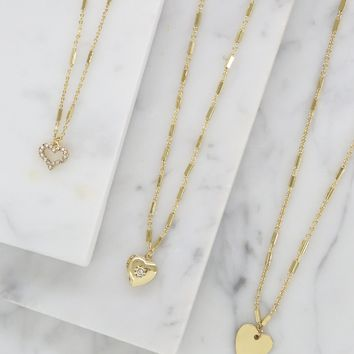 Triple Heart Layered Necklace Set in Gold