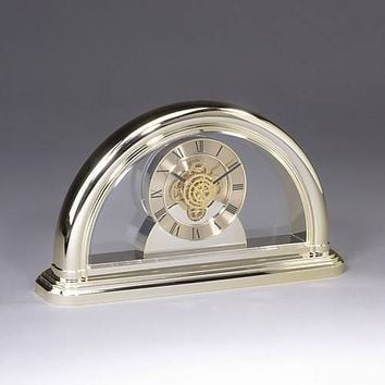 Personalized Goldtone Clear Desk Clock with See Through Movement