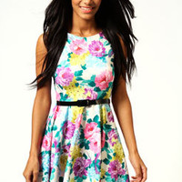 Sara Floral Printed Sleeveless Skater Dress