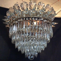 Antique Crystal Waterfall Chandelier Marked Czechlosavakia 1920s Stunning Free Shipping