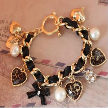 "New Fashion Girl""s Leopard Pearls Heart Diamante Bow Bracelets Jewelry = 1958253764"