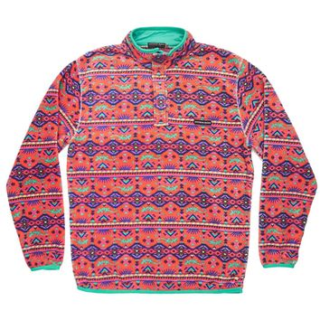 Dorado Fleece Pullover in Coral and Teal by Southern Marsh