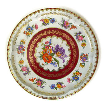 Vintage Daher Decorated Ware Serving Tray, Floral Tin Tray, Made in England, Burgandy and Gold