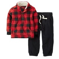 Carter's Buffalo Check Plaid Fleece Pullover & Pants Set - Baby