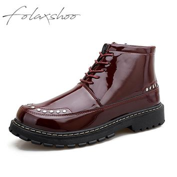 Folaxshoo Outdoor Patent Leather Shoes Fashion Dr Martens Ankle Boots Antiskid Men Shoes Shockproof  New Flats Stylish Footwear