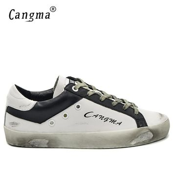 CANGMA Italian Designer Brand Sneakers Vintage Men's Casual Shoes Fashion Genuine Leather White Bass Breathable Male Shoes 34-48