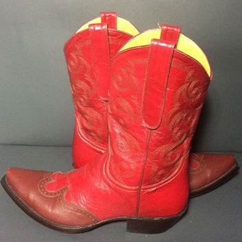 OLD GRINGO Red Leather Western Cowboy Cowgirl Boots Women's Size 9