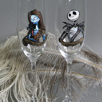 Hand painted Wedding Toasting Flutes Set of 2 Personalized Champagne glasses  Jack and Sally